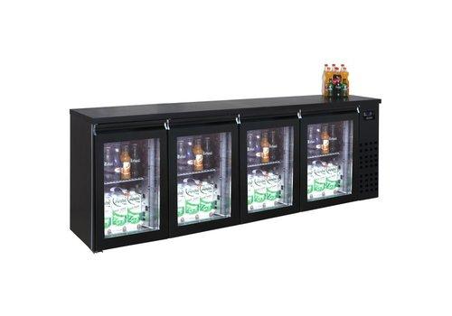 HorecaTraders Bar cooler black 4 glass doors