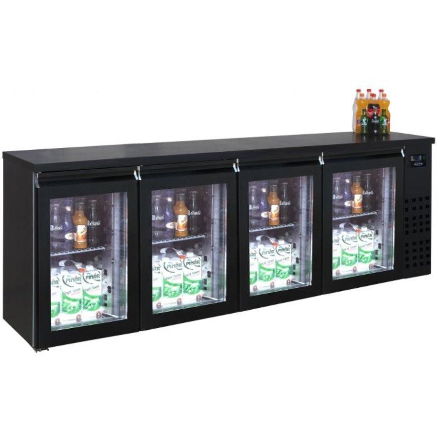 Bar cooler black 4 glass doors