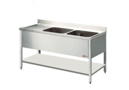 Diamond Stainless Steel Sink with 2 Bins Right   3 Dimensions