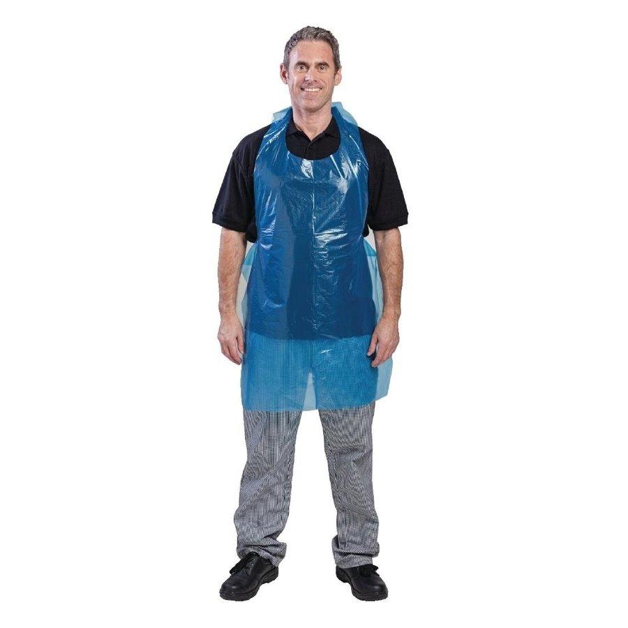 Disposable polyethylene bib aprons 14.5 micron blue (100 pieces)