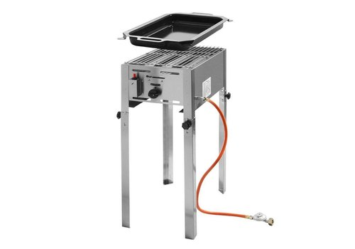Hendi RVS Gas Barbecue |  Incl. Pan + Rooster