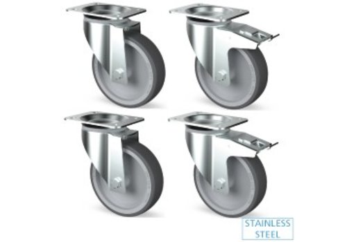 HorecaTraders Stainless steel casters Professional 4 pieces
