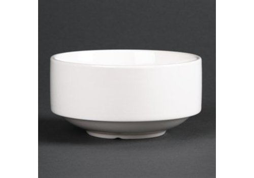 HorecaTraders Stackable Porcelain Soup Bowl White | 40cl 6 pieces