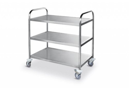 Combisteel Stainless steel Serving trolley with three shelves 94 (h) x85x54cm