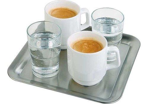 APS Kaffee Servierschale Edelstahl 23x23x1,5 cm