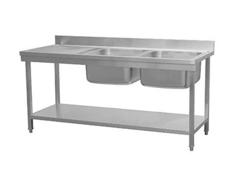 HorecaTraders Spültisch mit 2 Waschbecken rechts und Regalboden | 180x70x85 cm