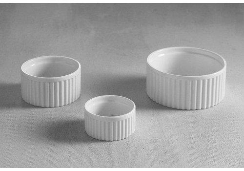 Hendi Gerippte weißes Porzellan Ramekin 12x6cm | 6 Stück