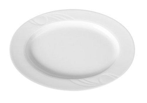 Hendi Porzellan Servierschalen Oval Weiß | 34x24cm (6 Stück)
