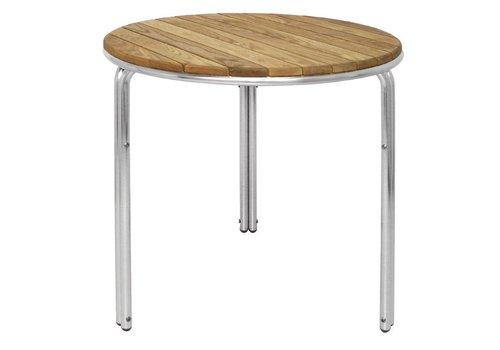 Bolero Stapelbare Tisch 60cm rund Esche / Aluminiumbeine