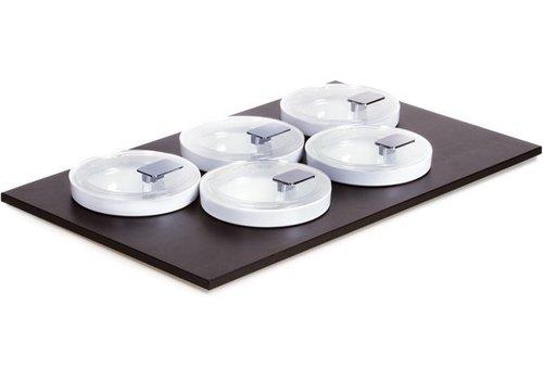 APS Zwarte Buffetplaat met 5 Kommen en deksels | 53x33cm