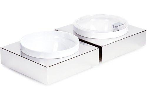 APS Edelstahl Buffet Platte mit weißem Melamin Schale | 26,5x26,5cm