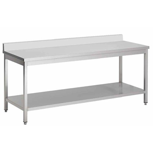 Stainless steel work table with backsplash Solid Construction