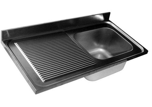 HorecaTraders Rinse Table Stainless Steel   sink right   120x60x40 cm