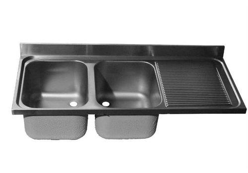 HorecaTraders Spoeltafelblad RVS | dubbele spoelbak links | 200x60x40 cm