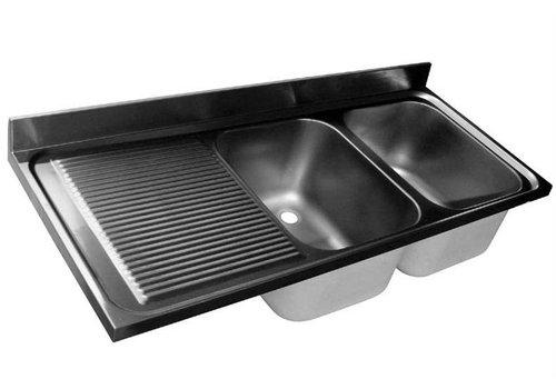 HorecaTraders Stainless Coil Tabletop | Doppelwaschbecken Recht | 200 x 60 x 40 cm