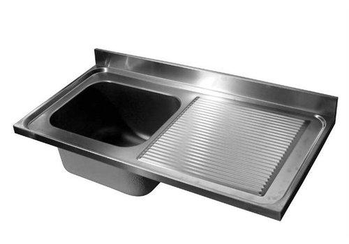 HorecaTraders Tischplatte aus Edelstahl Spule | Waschbecken Links | 140x70x40 cm