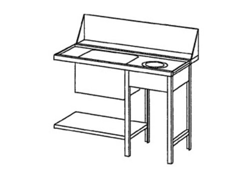 Bartscher Supply table right with Waste Sleeve | 120x72x85 cm