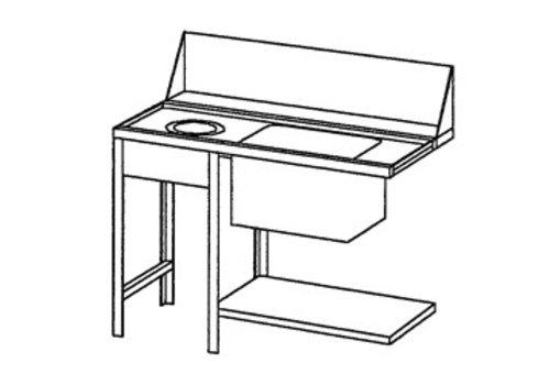 Bartscher Supply table left with Waste Sleeve | 120x72x85 cm