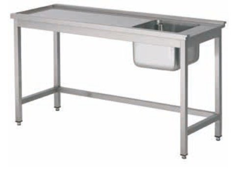 HorecaTraders Feeding table with stainless steel sink right | 5 Formats
