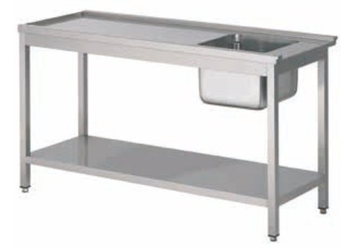 HorecaTraders Stainless Steel Supply table with sink right | 5 Dimensions