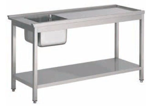 HorecaTraders Stainless Steel Supply table with sink left | 5 Dimensions