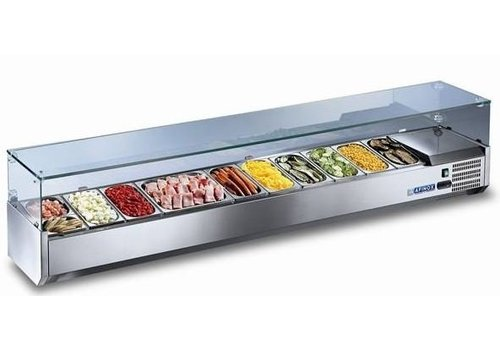 Afinox Static Cooled Showcase with Glass | 126 x 39.5 x 43 cm