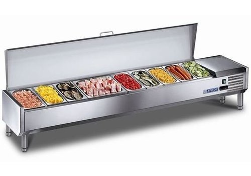 Afinox Refrigerated Showcase with stainless steel lid 9x 1/3 GN or 18x1 / 6 GN