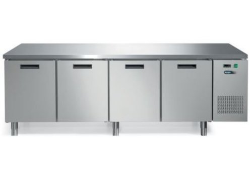 Afinox Forced stainless steel refrigerated workbench with worktop and 4 doors 245 x 70 x 85 cm