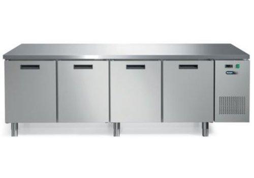 Afinox Gekühlte Werkbank aus Edelstahl mit Arbeitsplatte und 4 Türen 245 x 70 x 85 cm