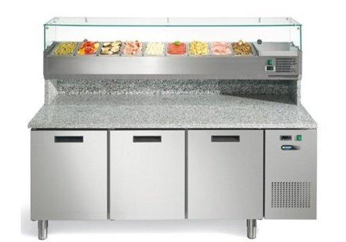 Afinox Stainless steel pizza workbench 3 doors 193x80x147 cm