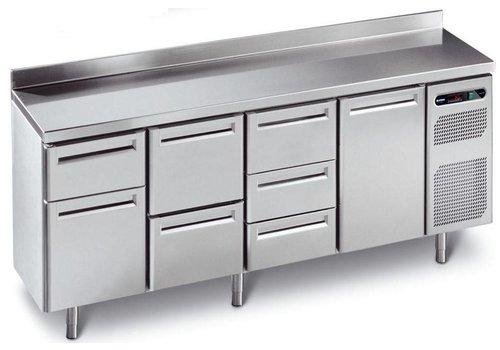 Afinox Geforceerde Koelwerkbank RVS met 4 deuren |  230 x 70 x 90 cm