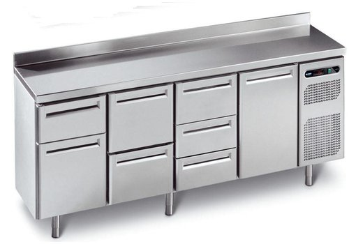Afinox Cool workbench stainless steel with 4 automatic doors 230 x 70 x 86 cm