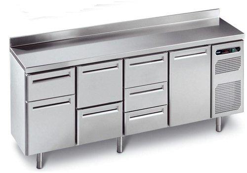 Afinox Geforceerde Koelwerkbank RVS met spatrand | 230 x 70 x 90 cm