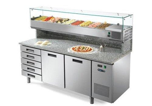 Afinox Pizza Werkbank mit Schubladen und Türen 2 192x80x147 cm
