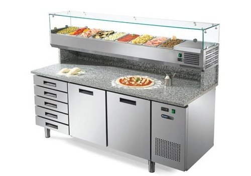 Afinox Pizza workbench with drawers and 2 doors 192x80x147 cm