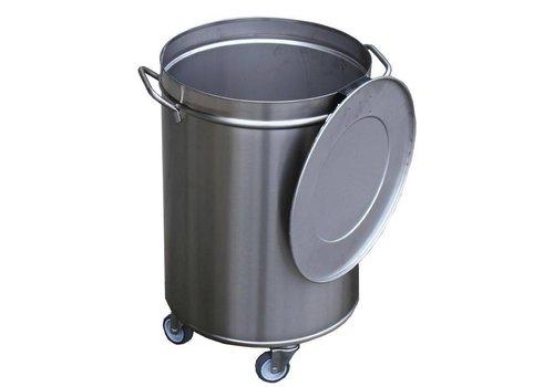 HorecaTraders Stainless steel waste bin 50 liters