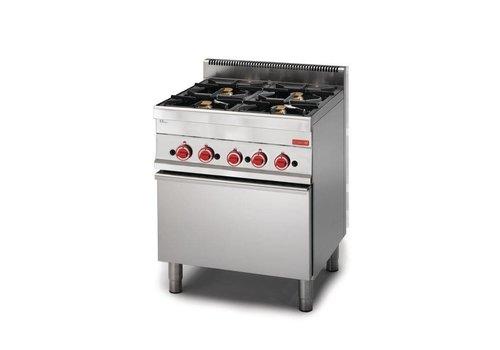 Gastro-M RVS Gas Fornuis met Gas Oven | 4 Branders