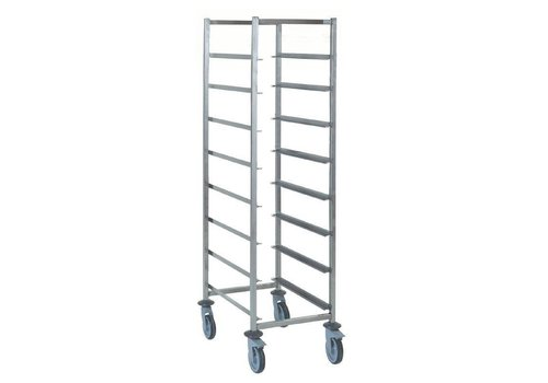 HorecaTraders Baskets trolley with 8 floors, stainless steel | 60 x 60 cm