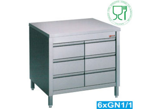 HorecaTraders Stainless Steel Cupboard | 6 drawers | 80 x 70 x h88 / 90 cm