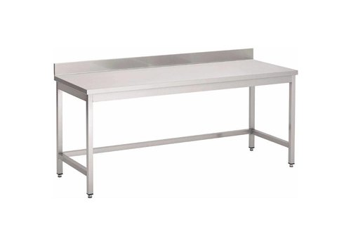 HorecaTraders Stainless Steel Table with Back Stand 8 Dimensions