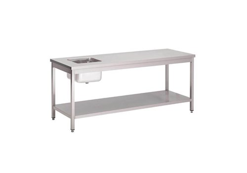 HorecaTraders Stainless steel sink with sink left | 5 dimensions