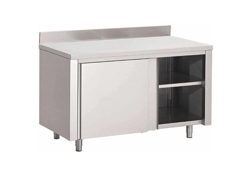 HorecaTraders Stainless steel Cabinet with Spatrand and Sliding Doors | 7 Formats