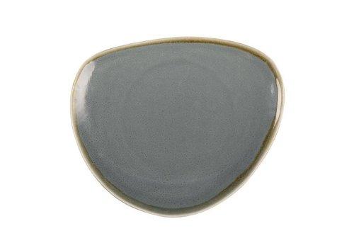 Olympia Blauwe porselein driehoekige borden 23cm (6 stuks)