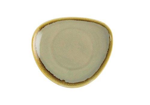 Olympia Moosgrün Porzellan dreieckige Platten von 16,5 cm (6 Stück)