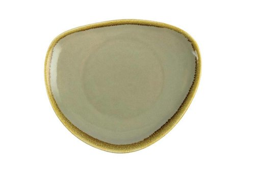 Olympia Moss green porcelain triangular plates 23cm (6 pieces)