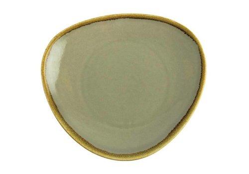 Olympia Moosgrün dreieckiger Porzellanteller 28cm (4 Stück)