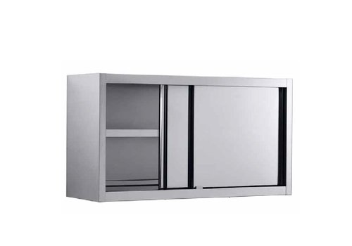 Combisteel Wall cupboard stainless steel with sliding doors 160x40x65 cm