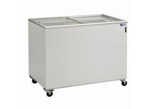Diamond Freezer chest with 2 sliding glass lids 400 liters Wheels included