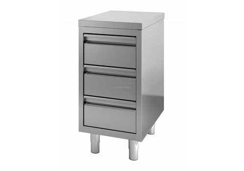 HorecaTraders Stainless steel commode | 3 drawers | 60 x 70 x 85 cm