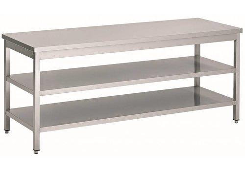 HorecaTraders Edelstahl-Arbeitstisch mit 2 Regalen   60 cm tief   14 Formate